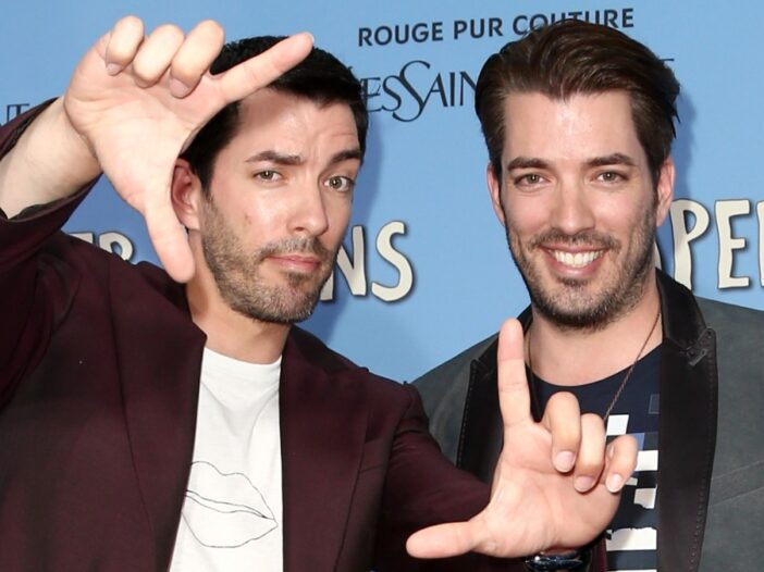 Jonathan and Drew Scott on the red carpet at the Paper Towns premiere