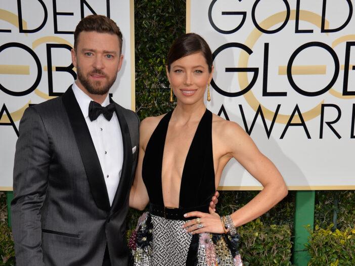Justin Timberlake in a tux, Jessica Biel in a very low-cut dress.