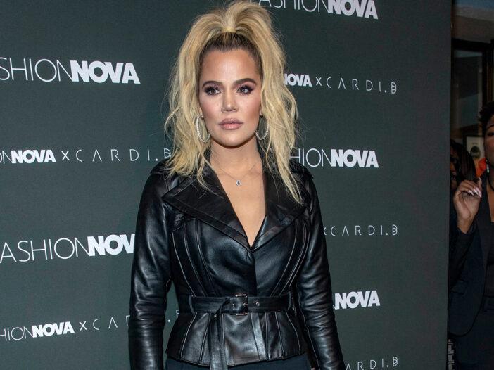 Khloe Kardashian in a black leather jacket