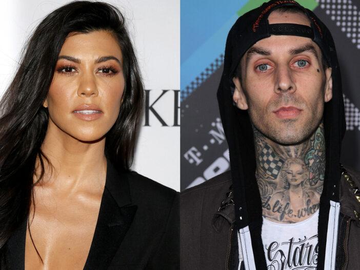 Side by side photos, Kourtney Kardashian on the left, Travis Barker on the right