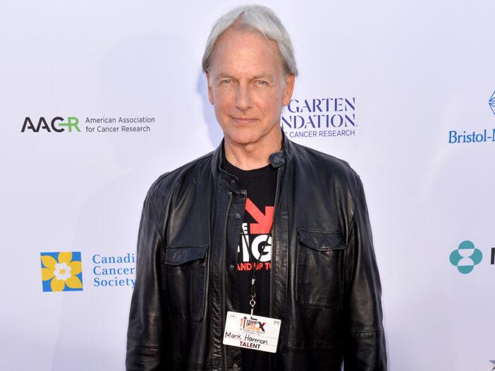 Mark Harmon wearing a leather jacket.