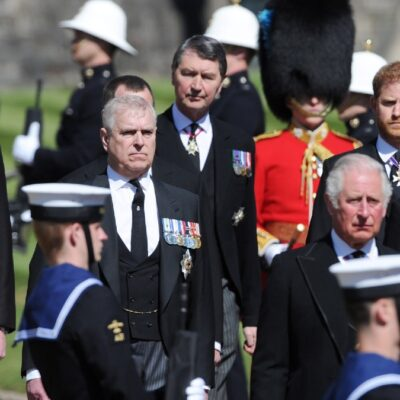 Princes William, Andrew, Charles, and Harry march at Prince Philip's funeral
