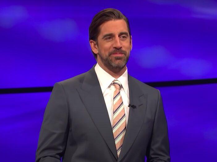 screenshot of Aaron Rodgers hosting Jeopardy!