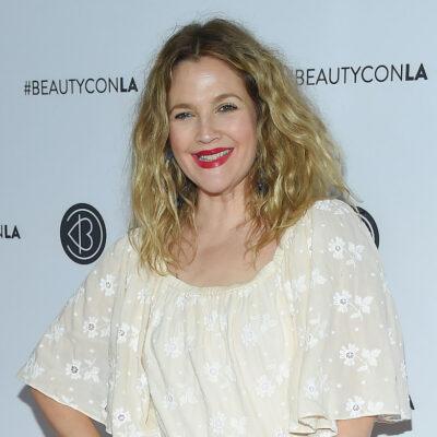 Drew Barrymore in a white dress