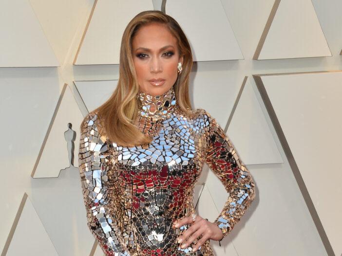 Jennifer Lopez in a reflective dress