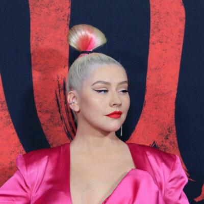 Christina Aguilera in a pink dress