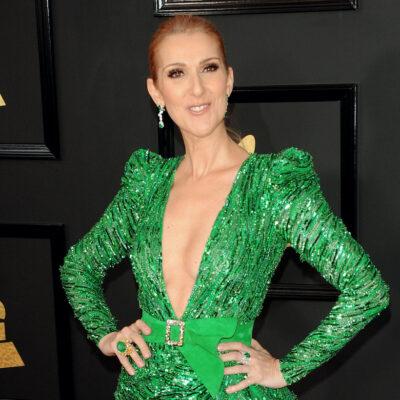 Celine Dion in a green dress
