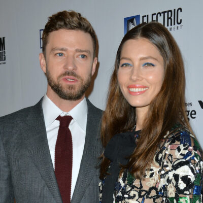 Justin Timberlake in a suit with wife Jessica Biel in a dress
