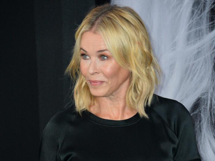 Chelsea Handler in a black blouse