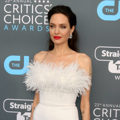 Angelina Jolie in a poofy white dress