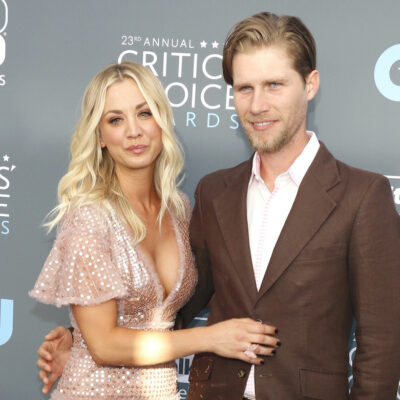 Kaley Cuoco on the red carpet with husband Karl Cook