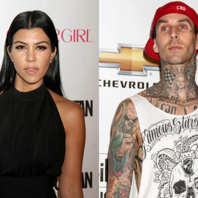 Side-by-side combo photo, Kuortney Kardashian on the left, Travis Barker on the right