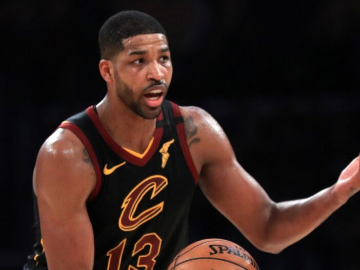 Tristan Thompson handles the ball while playing for the Cleveland Cavaliers