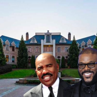 A photo of an Atlanta mansion overlayed with images of Steve Harvey and Tyler Perry