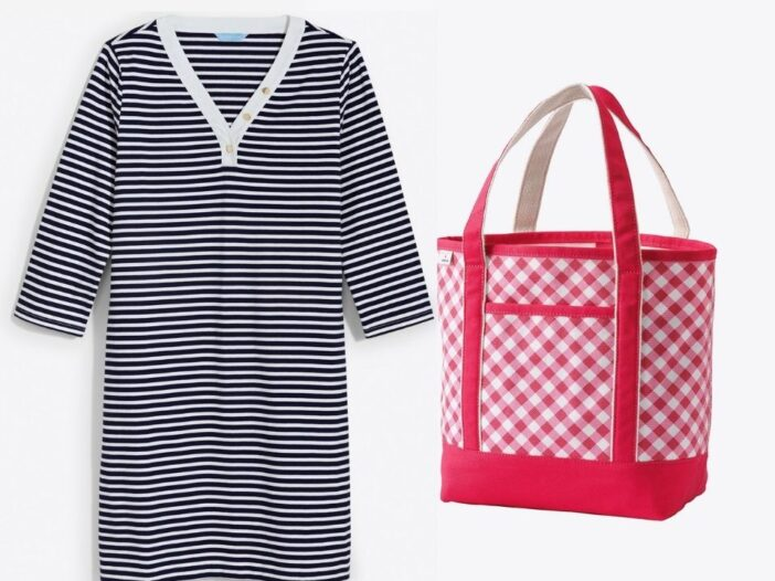 Two product images side by side of a striped v-neck tee shirt dress and a red and white open tote back from the Draper James x Lands' End exclusive collection.