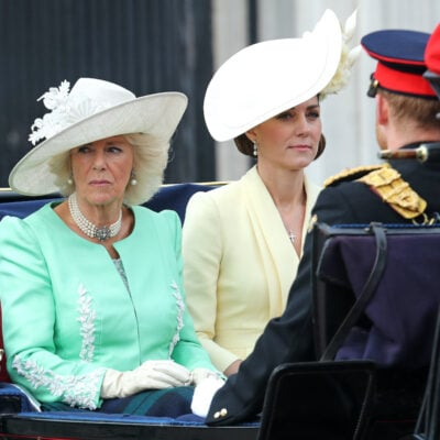 Kate Middleton and Camilla Parker Bowles riding in a carriage