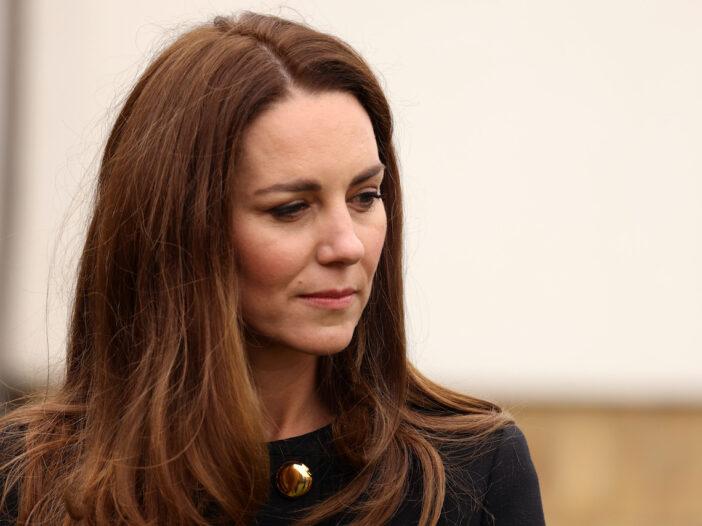 close up of Kate Middleton in a black jacket