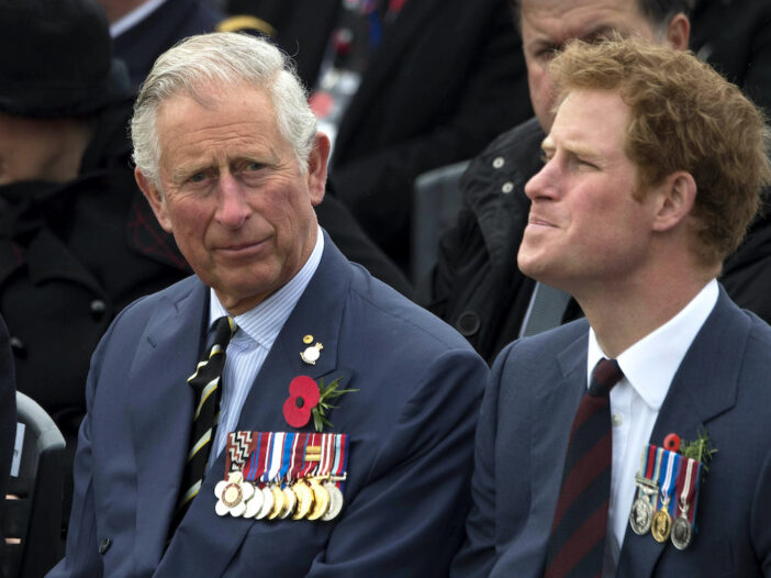 2015 photo of Prince Charles and Prince Harry sitting together