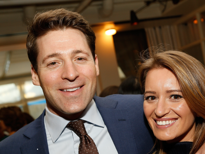 Tony Dokoupil and Katy Tur pose together at a media event
