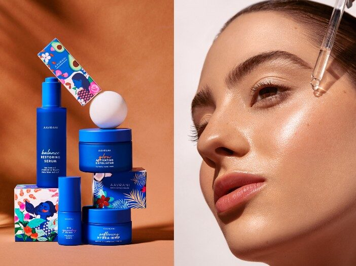 Side by side images of AAVRANI products and a model applying serum to her skin.