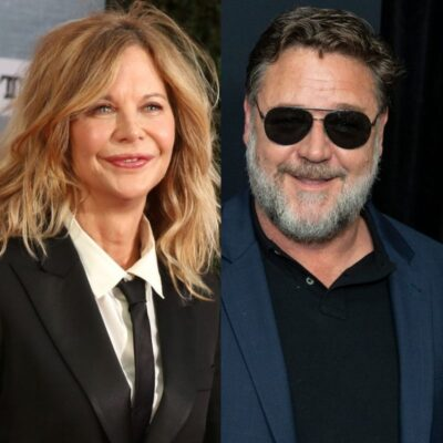 side by side photos of Meg Ryan and Russell Crowe