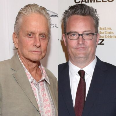 side by side photos of Michael Douglas and Matthew Perry
