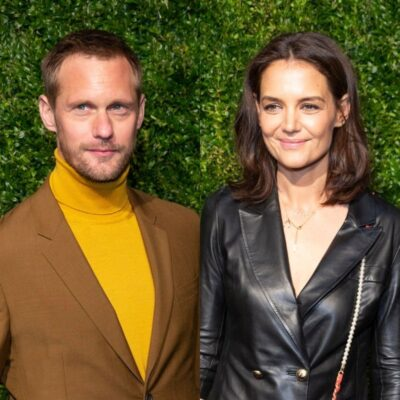 side by side photos of Alexander Skarsgard and Katie Holmes in front of hedges