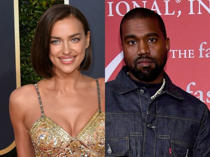 side by side photos of Irina Shayk and Kanye West