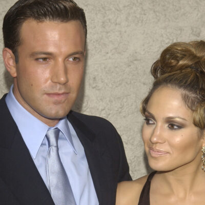 Ben Affleck on the left, standing with Jennifer Lopez on the right, back when they dated.