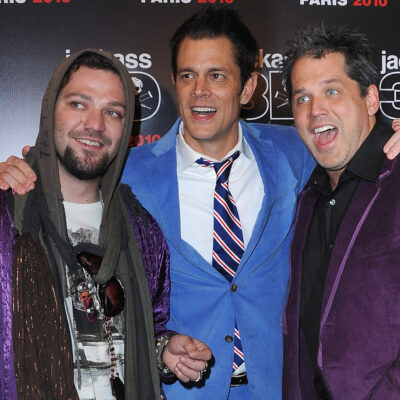 From left to right, Bam Margera, Johnny Knoxville, Jeff Tremaine at the Jackass 3D premiere