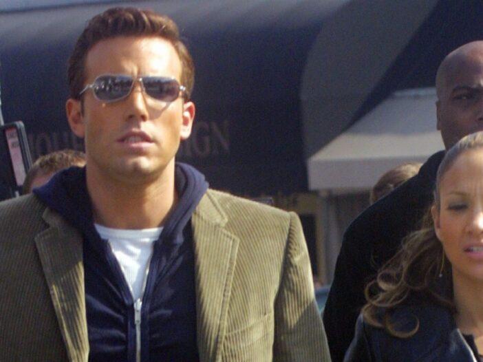 Ben Affleck and his then girlfriend Jennifer Lopez walk hand in hand