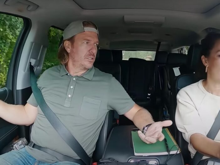 Chip and Joanna Gaines sit together in a car