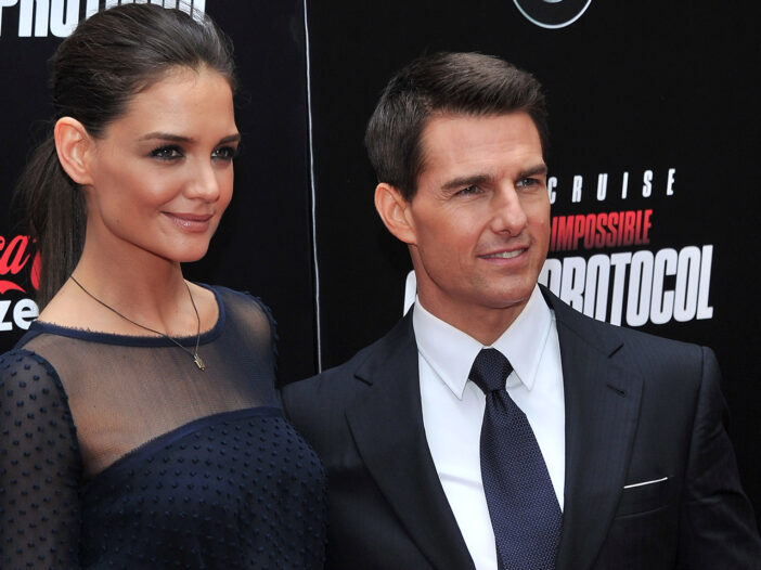 Katie Holmes on the left, Tom Cruise on the right, when they were married