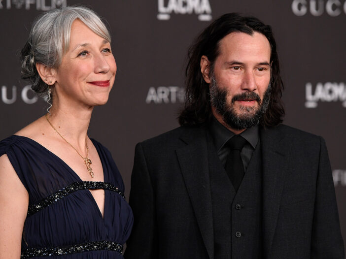 Alexandra Grant on the left, Keanu Reeves on the right.
