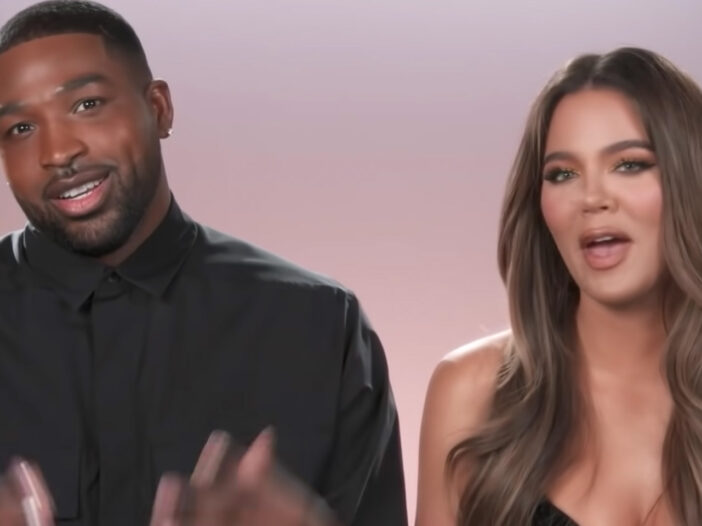 Screenshot from Keeping Up With The Kardashians with Tristan Thompson on the left and Khloe Kardashian on the right.