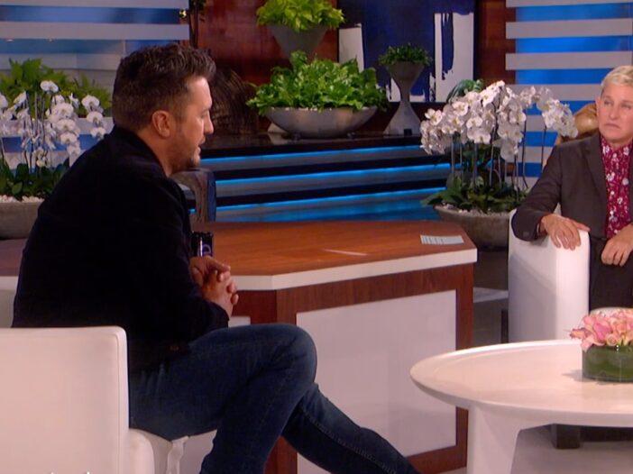 Luke Bryan and Ellen DeGeneres talk together on the set of The Ellen Show