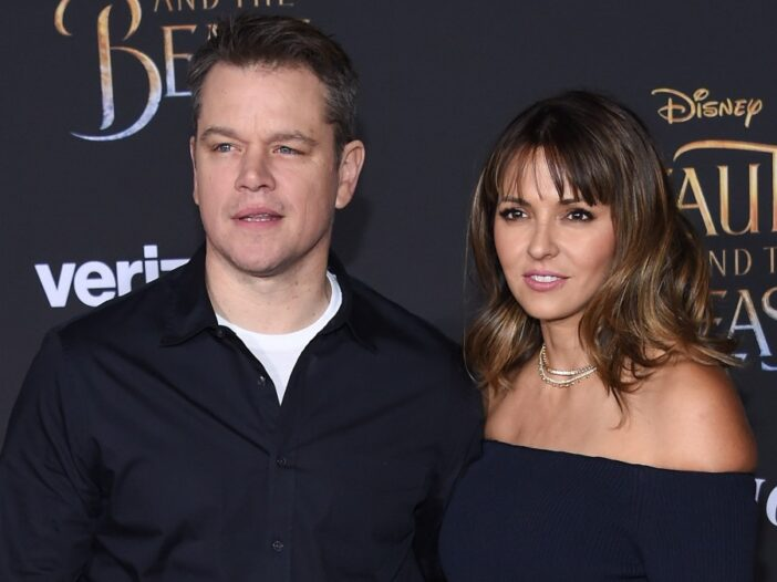 Matt Damon and his wife Luciana Barraso dressed in black for a movie premiere
