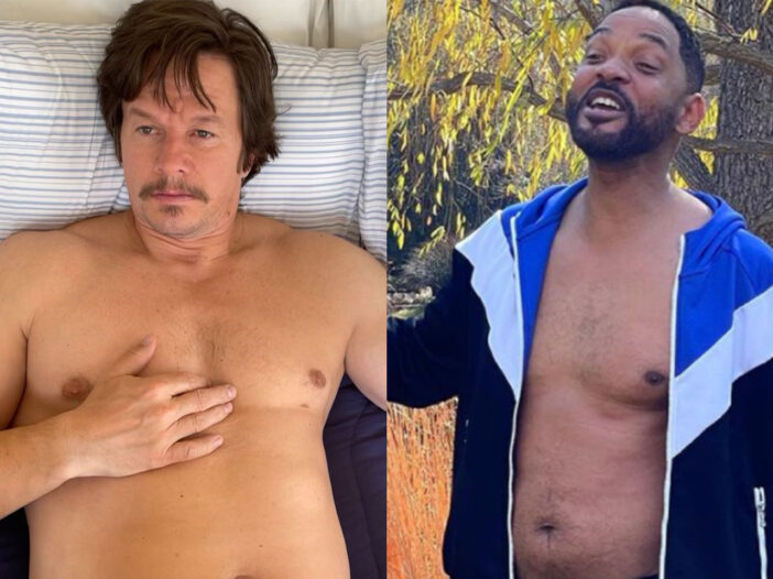 Side-by-side shots of Mark Wahlberg on the left, Will Smith on the right, both looking fat.