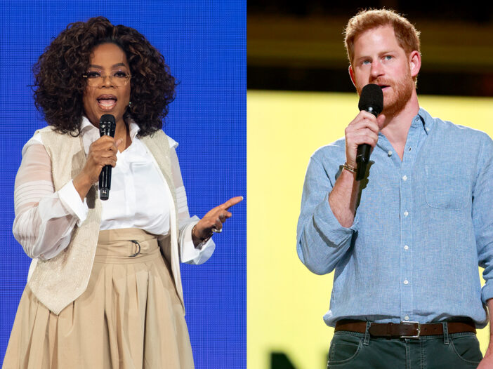 Side by side photos, Oprah Winfrey holding a microphone on the left, Prince Harry holding a microphone on the right.