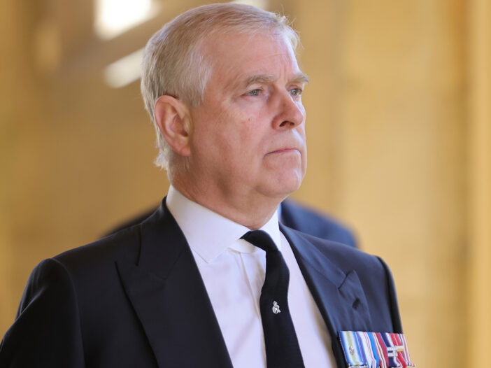 Prince Andrew in a suit and tie at Prince Philip's funeral