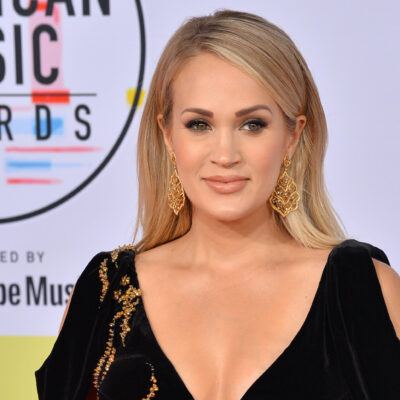Carrie Underwood smiling in a black dress
