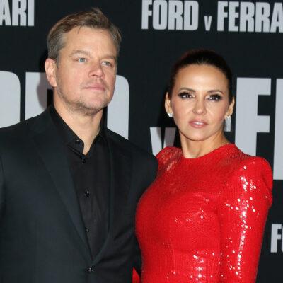 Matt Damon and Luciana Barroso at the Ford v Ferrari premiere