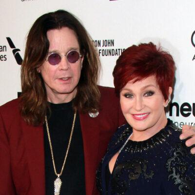 Sharon Osbourne smiling with Ozzy Osbourne