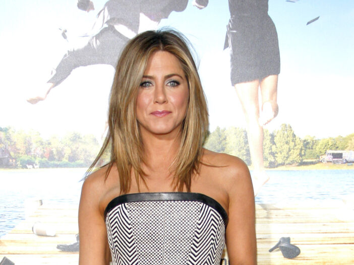 Jennifer Aniston in a grey dress