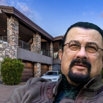 An image of Steven Seagal overlaying his Arizona mansion