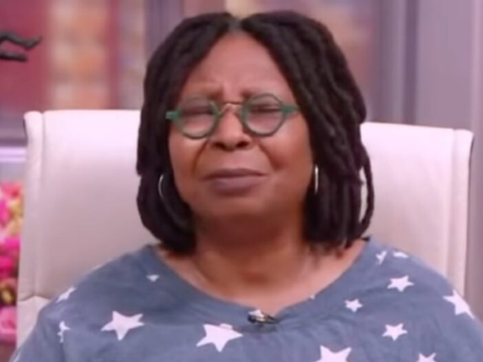 Whoopi Goldberg wears a blue shirt with white stars on a recent episode of The View