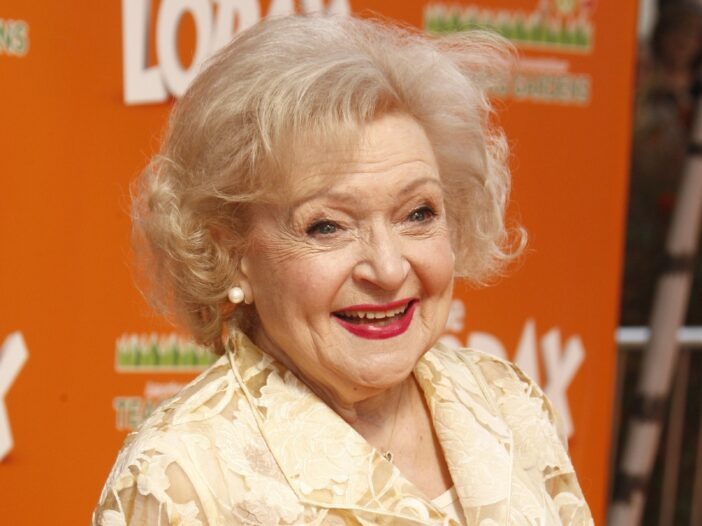 Betty White in 2012 wearing a white dress at the premiere of 'The Lorax.'