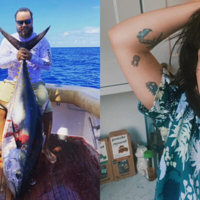 Side by side pictures of Connor and Bella Cruise. Connor is on a boat holding a huge fish. Bella is on the right wearing a blue shirt sticking her tongue out.