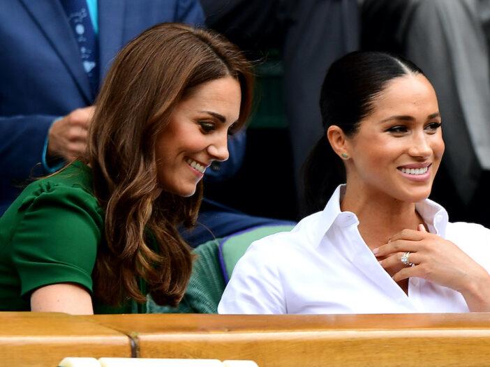 Kate Middleton and Meghan Markle at Wimbledon, smiling