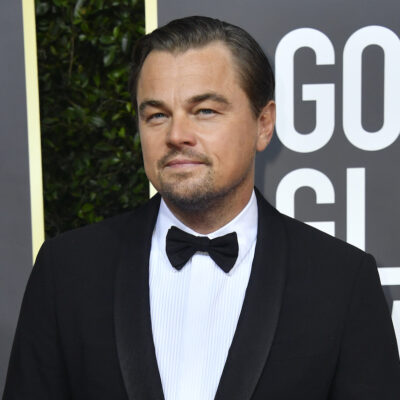 Leonardo DiCaprio smirking in a tuxedo